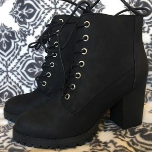 NWT- Wide Fit Lace Up Cleated Ankle Boots